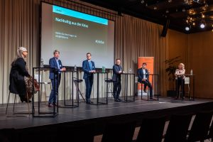 LF40, Paneldiskussion mit (von links nach rechts) Dr. Karin Lenzlinger; Bernard Germanier; Mario Senn, Amt für Wirtschaft und Arbeit Kt. ZH; Dr. Daniel Lampart, SGB; Dr. Jörg Wild, Energie 360° AG; Sonja Hasler, SRF